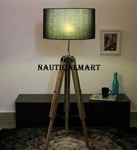 Black Cotton Floor Tripod Lamp With Chrome Finish Stand By Nauticalmart - $147.51