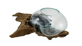 Zeckos Glass On Teak Driftwood Hand Sculpted Molten Bowl/Plant Terrarium - $191.99