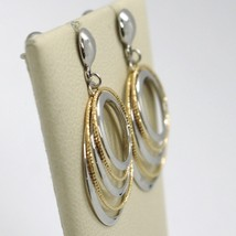 18K YELLOW WHITE GOLD PENDANT EARRINGS ALTERNATE WORKED CIRCLES, MADE IN ITALY image 2