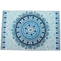 Judaica Challah Tray Board Reinforced Glass Shabbat Blessing Kiddush Floral Blue image 2