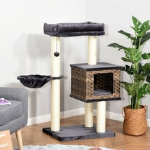 PawHut Cat Tree Tower w/ Sisal Posts Condo Hanging Ball Cushion Perch PE... - £71.14 GBP