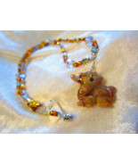 Vintage crystal Dragon quartz necklace pendent Chinese Silver tone Reiki - $18.00