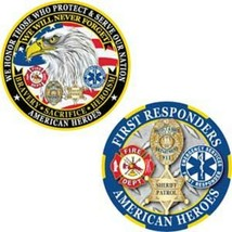 "AMERICAN HEROES FIRST RESPONDERS  FIRE POLICE SHERIFF 1.75"" CHALLENGE COIN - $16.24"