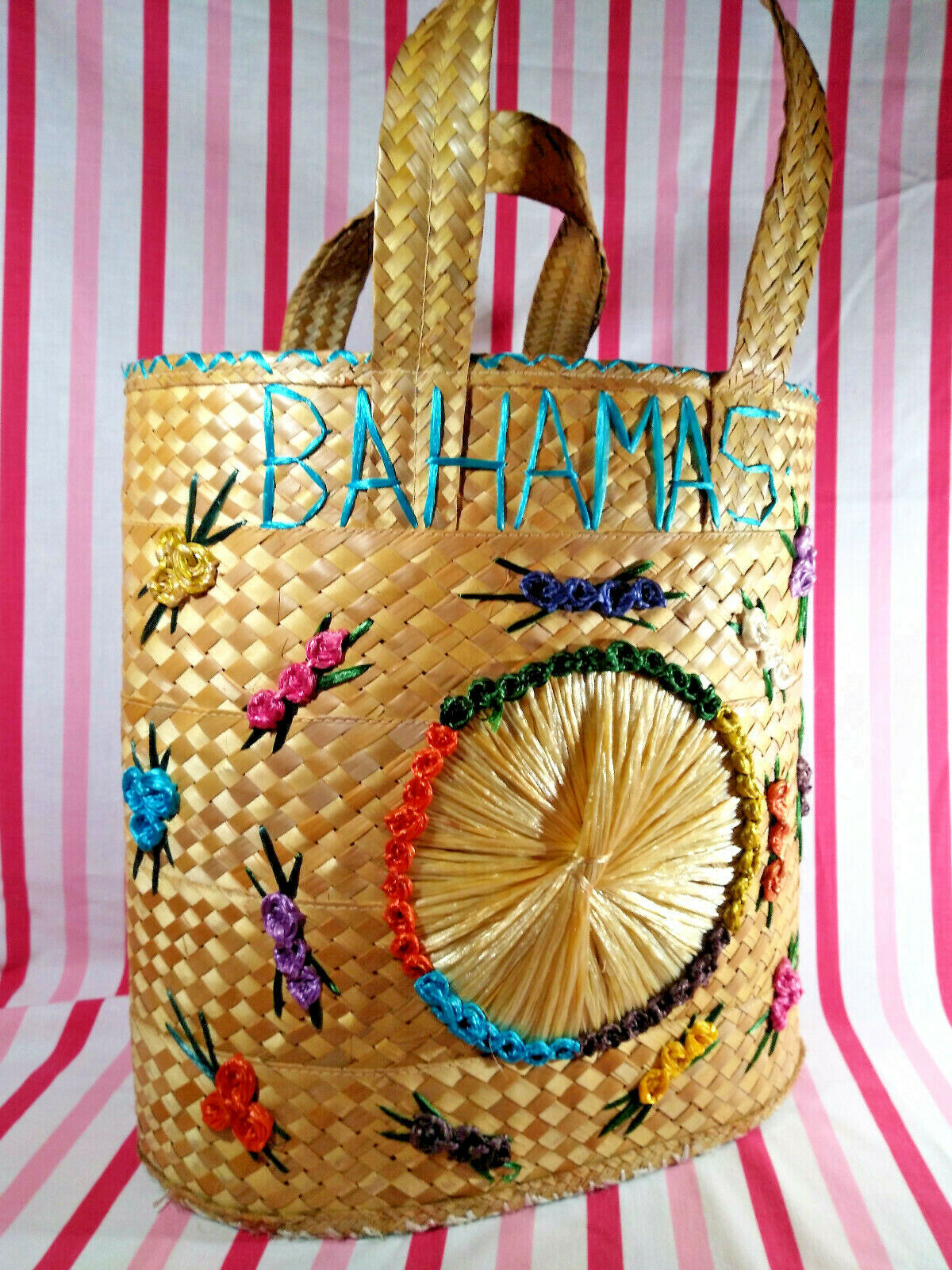 Primary image for Awesome Vintage Bahamas Woven Raffia Straw Bag Jumbo Tote or Beach Bag w/Florals