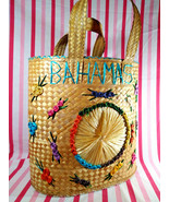 Awesome Vintage Bahamas Woven Raffia Straw Bag Jumbo Tote or Beach Bag w... - $32.00