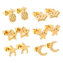 Gold/Silver Color Smooth Earring Sets Fashion Anti-allergy 6pairs/Box Stud Earri - $13.93