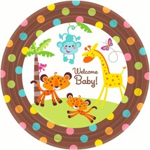 "Fisher Price Baby Shower Monkey Jungle 10.5"" Banquet Dinner Plates, 8ct - $3.95"