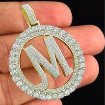 "Round Cut Diamond Initial Letter ""M"" Alphabet Pendant 18k Gold Plated 92... - £118.98 GBP"