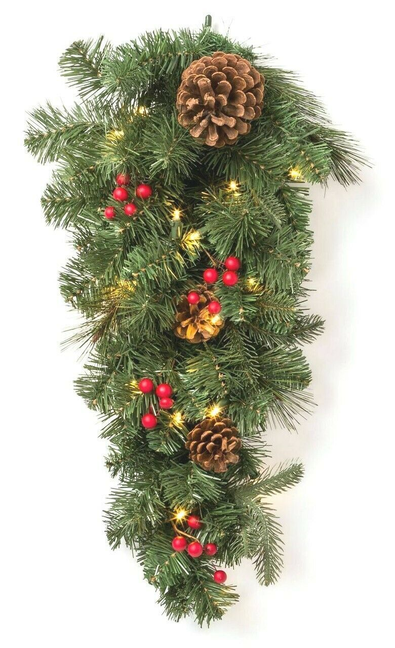 "28"" Prelit LED Red Berry and Pinecone Mixed Pine Artificial Christmas Swag NEW"