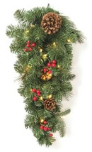 "28"" Prelit LED Red Berry and Pinecone Mixed Pine Artificial Christmas Swag NEW image 1"