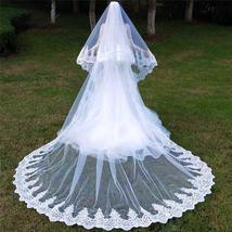 2 Layers Sequins Lace Cathedral Wedding Veils with Comb Long White or Ivory Veil - $99.99+