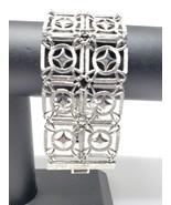 Silver Tone Bracelet Vintage 2 Rows Geometric Design Fold Over Clasp - $17.96