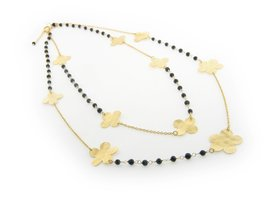 "Fronay Hammered Flowers & Onyx Necklace, 18"" - $126.00"