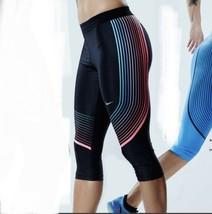 Nike Power Velocidad Capri XS NEGRO Rosa Azul Corto Pantalones Legging Sólido - $35.95