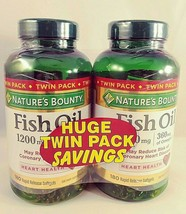 Nature's Bounty Fish Oil Omega 3 1200mg Softgel 180 Count 2 Pack - $22.28
