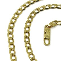 "SOLID 18K GOLD GOURMETTE CUBAN CURB LINKS CHAIN 4mm, 24"", STRONG BRIGHT NECKLACE image 2"