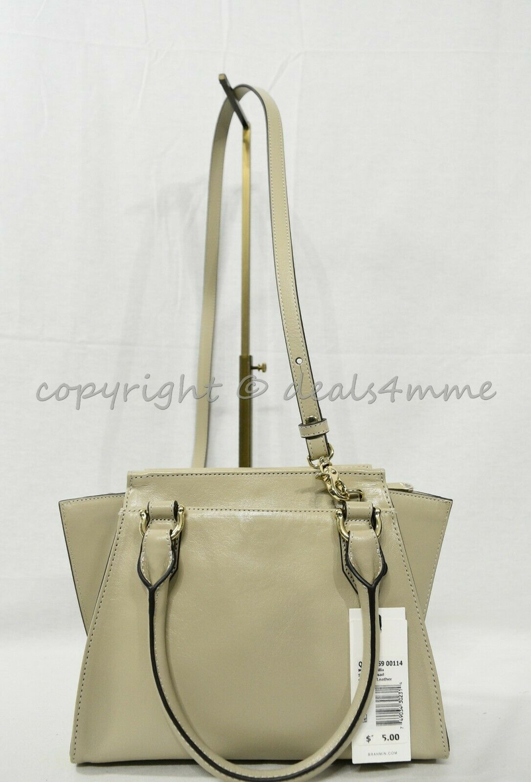 NWT Brahmin Mini Priscilla Smooth Leather Satchel/Shoulder Bag in Sand Topsail image 9