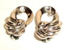 Vintage Mod Decco Silver tone Metal Clip Earrings - $5.89