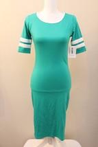 LuLaRoe Julia dress XS solid green white double varsity stripes St. Patricks - $39.60