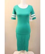 LuLaRoe Julia dress XS solid green white double varsity stripes St. Patr... - $39.60