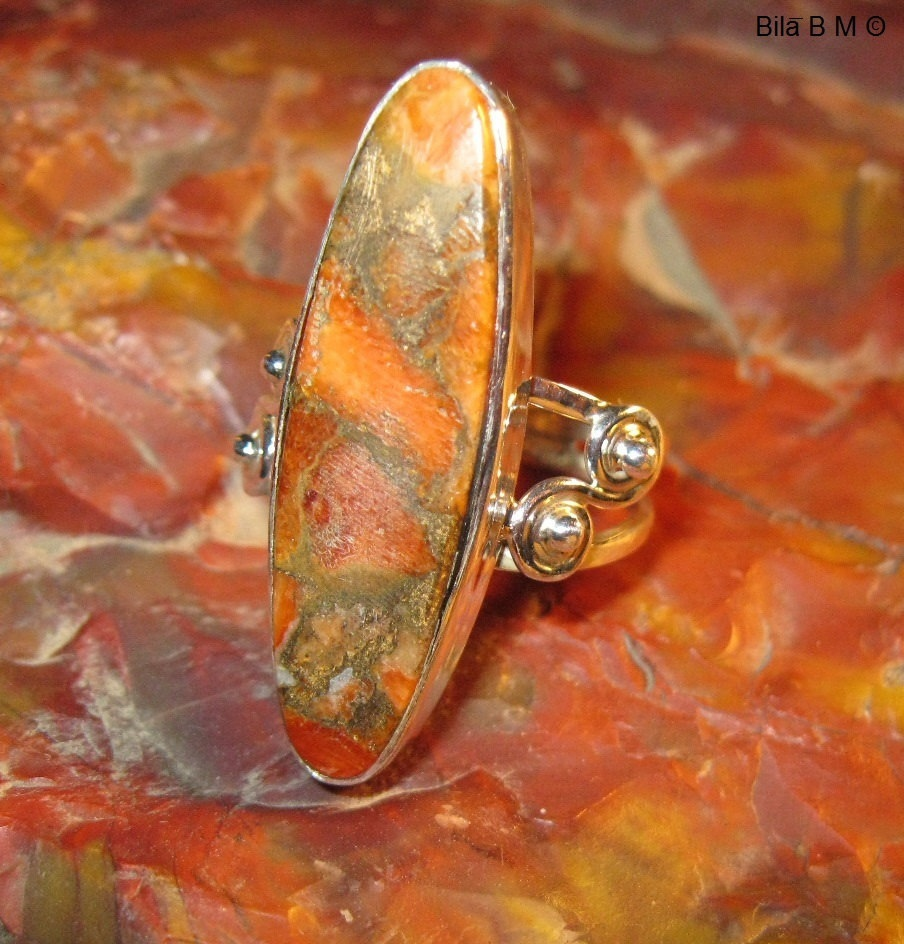 Primary image for ORANGE COPPER TURQUOISE RING in Sterling Silver - Size 7 - FREE SHIPPING