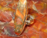 ORANGE COPPER TURQUOISE RING in Sterling Silver - Size 7 - FREE SHIPPING