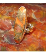 ORANGE COPPER TURQUOISE RING in Sterling Silver... - $125.00