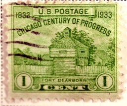 US Stamp #728 1 cent Chicago Century of Progress Fort Dearborn Issue 193... - $0.99
