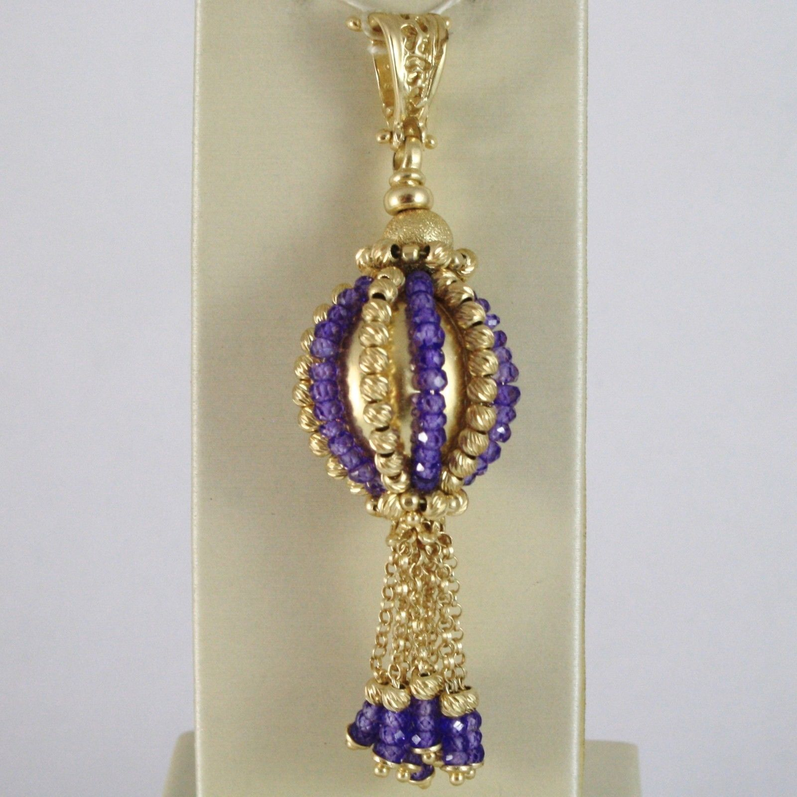 925 STERLING SILVER PENDANT WITH AMETHYST FINELY WORKED BALLS AND FRINGES, ITALY