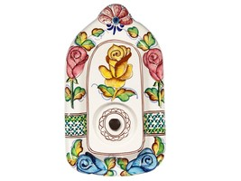 Vintage Hand Painted Portuguese Ceramic Wall Sconce Unwired Light Fixture - $16.36