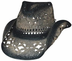 Bullhide Scorched Vented Toyo Straw Cowgirl Hat Pinchfront Crown Black B... - $60.17 CAD
