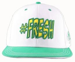 Flat Fitty Hashtag Fresh Wiz Khalifa Green White Snapback Baseball Hat Cap NWT