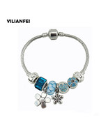 Wer pendant fashion charm pandora bracelets bangles with blue chamilia beads for women thumbtall