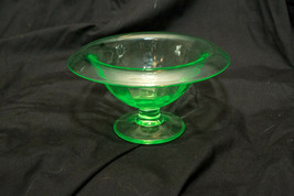 Excellent Art Deco Uranium Vaseline Green Depression Glass Footed Bowl - $38.61