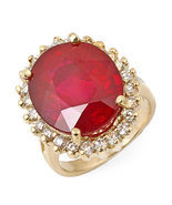 Estate ring 12.70 ct natural ruby and diamond 14k gold - $2,520.00