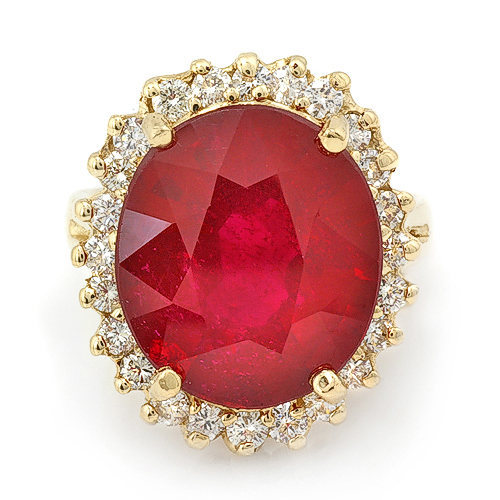 Estate ring 12.70 ct natural ruby and diamond 14k gold