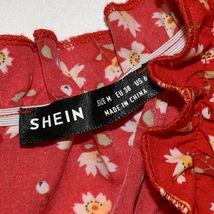 Shein Women's Red Floral Ruffle Zipper Back Sundress Sun Dress Size M image 3