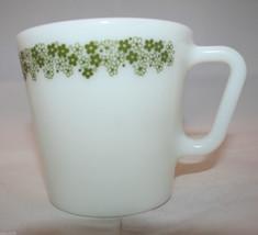 Corning  Pyrex Spring Blossom Green Crazy Daisy Milk Glass 1 Coffee Tea Mug Cup - $26.10