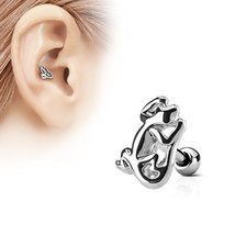 1 Pc Gecko Surgical Steel Barbell Cartilage Tragus Helix Ear Piercing Je... - $11.88