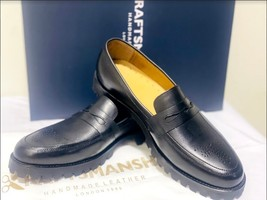 Handmade Men's Black Leather Brogues Style Slip Ons Loafer Shoes image 5