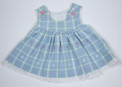 GOOD LAD INFANT GIRLS 6-9M BLUE DRESS HEARTS &  BUNNIES EYELET TRIM 6M 9M SPIRNG