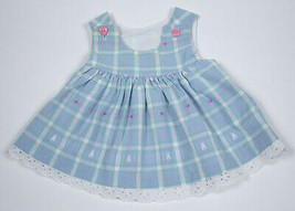 GOOD LAD INFANT GIRLS 6-9M BLUE DRESS HEARTS &  BUNNIES EYELET TRIM 6M 9... - $9.89