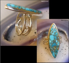 BLUE COPPER TURQUOISE RING in Sterling Silver - Size 7 1/4 - $120.00