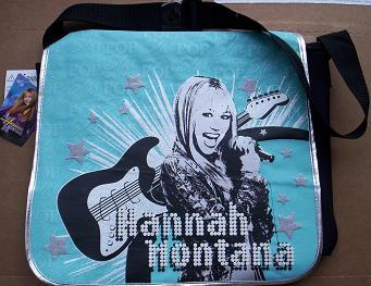 HANNAH MONTANA Turquoise and Black Messenger Bag Tote NeW Book Bag Backpack