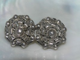 Vintage Unmarked Nonmagnetic Silver Hollow Beaded Double Flower Pin Broo... - $27.94