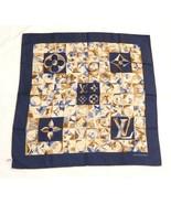 Louis Vuitton Sciarpa Monogramma Blu Navy 86 CM Seta 86.4cm - $386.98