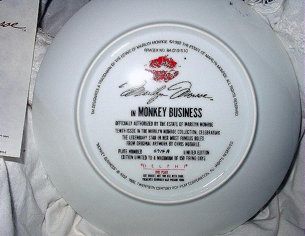 MARILYN MONROE 10th BRADFORD ISSUE PLATE - MONKEY BUSINESS