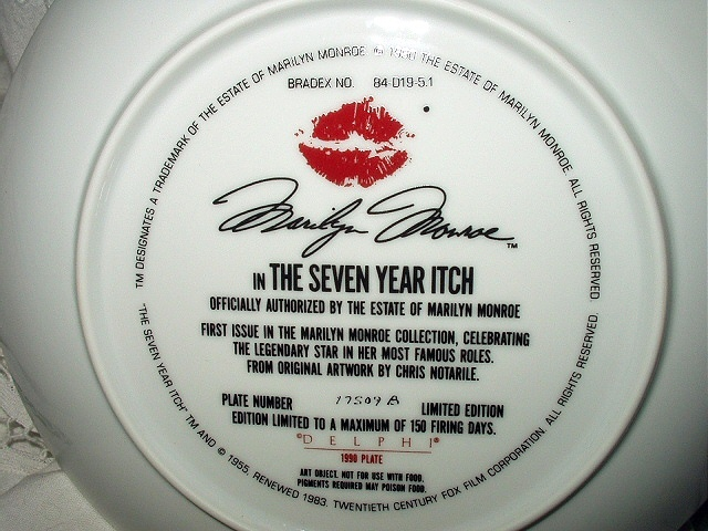RARE-1st BRADFORD ISSUE-MARILYN MONROE 1989 SEVEN YEAR ITCH PLATE