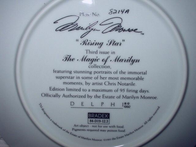 MARILYN MONROE-RISING STAR-#3 BRADFORD PORCELAIN PLATE 1992