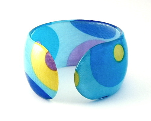 Bangle Bracelet Lucite Blue Aqua Circular Geometric Design Adjustable Size